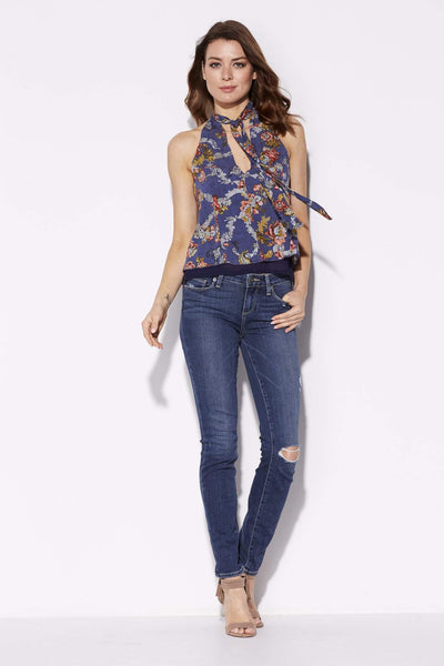 Navy Floral High Neck Top