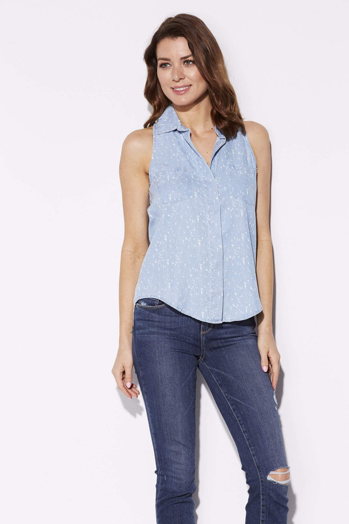 Bleached Sleeveless Chambray Top