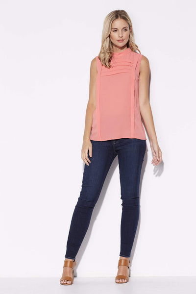 Highline - Coral Accordian Detail Top - front