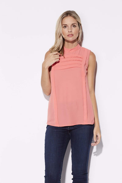 Coral Accordian Detail Top