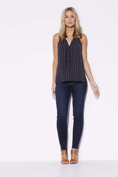 Tyche - Navy Pinstripe Top - front