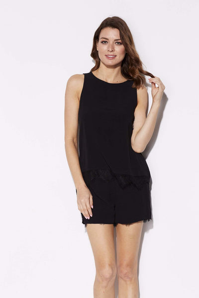 Black Lace Hem Top