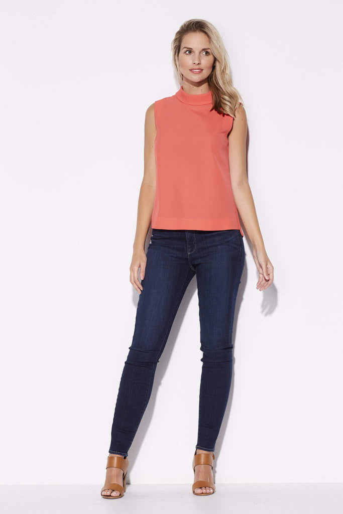 Highline - High Collar Coral Top - front