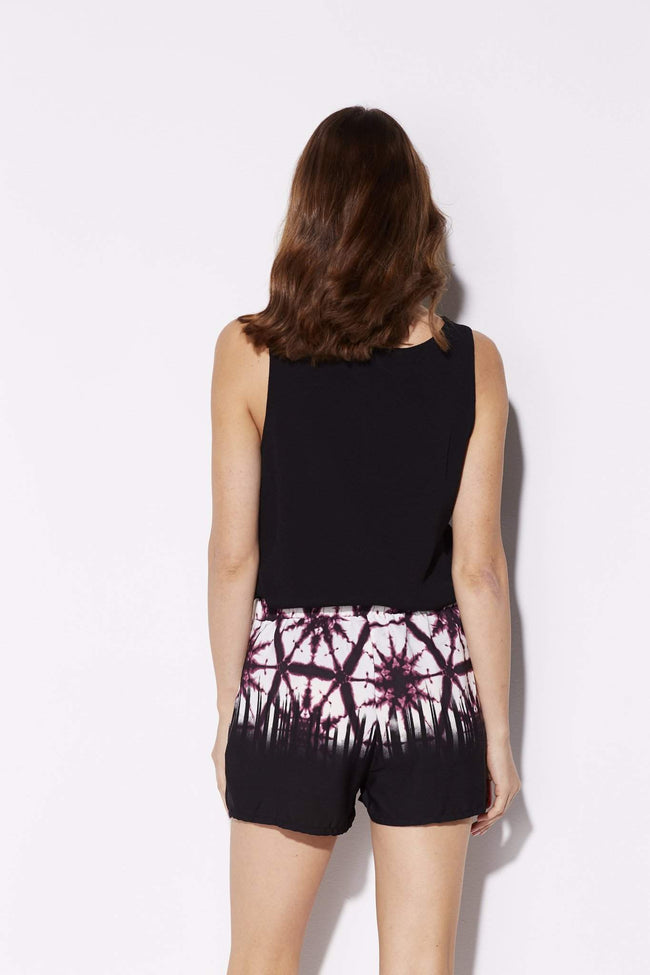 Tyche - Black and Purple Tie Dye Shorts - rear