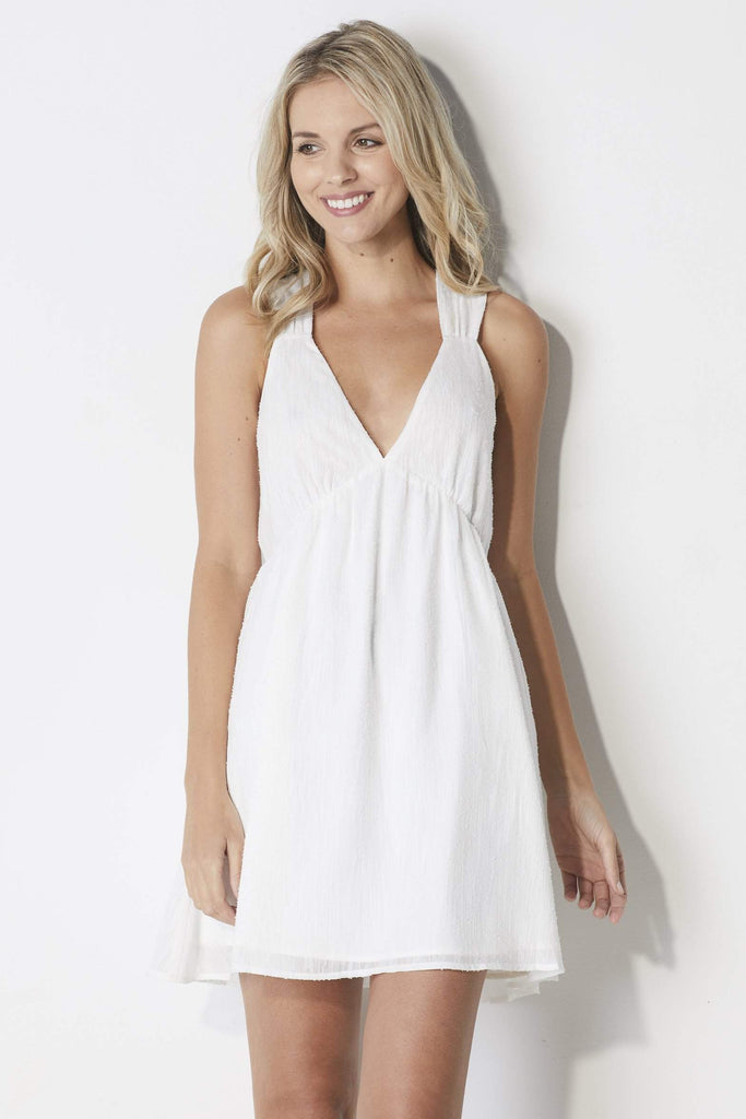 J.O.A White Babydoll Dress - Front