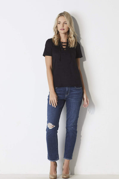 Z-Supply Suede Lace-up Tee - Front