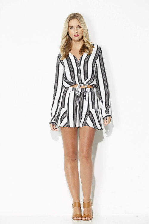 Dress Forum - Black and White Stripe Ruffle Shorts - front