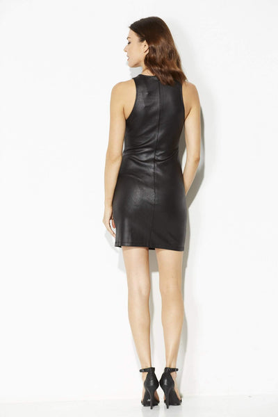 Jack - Black Leather Bodycon Dress - rear