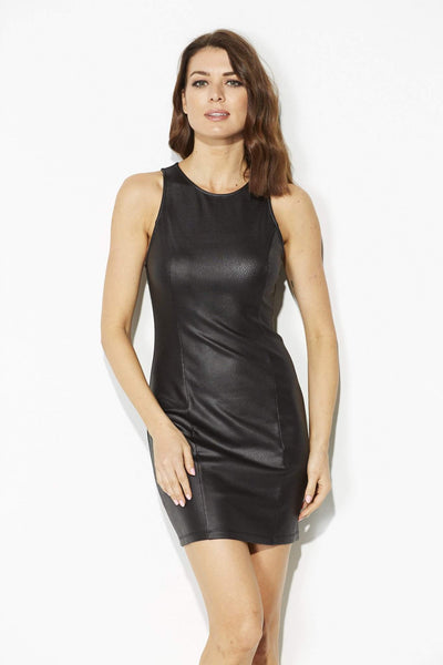 Black Leather Bodycon Dress