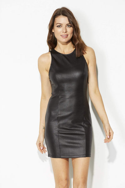 Jack - Black Leather Bodycon Dress - front, closer up