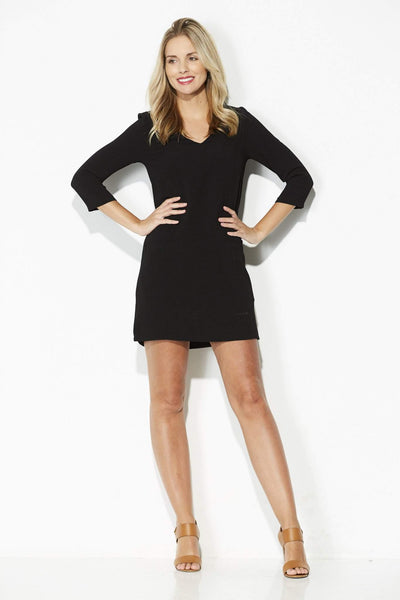 Jack - Black 3/4 Sleeve Shift Dress - front