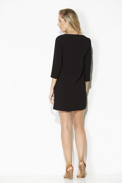 Jack - Black 3/4 Sleeve Shift Dress - rear
