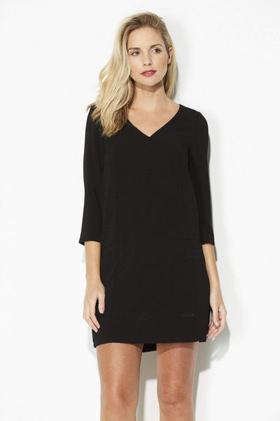 Jack - Black 3/4 Sleeve Shift Dress