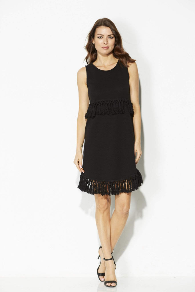 Jack - Black Knit Tassel Dress - front