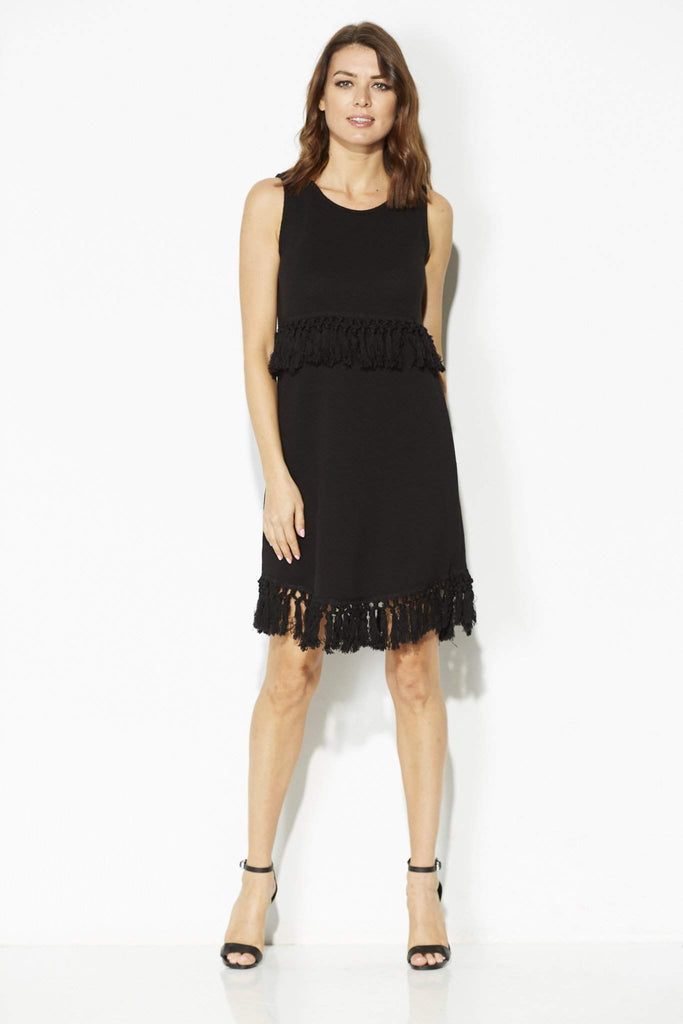 Black Knit Tassel Dress