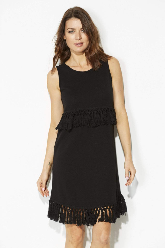 Jack - Black Knit Tassel Dress - closer front