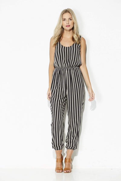 Everly - Black and White Stripe Jumpsuit - front