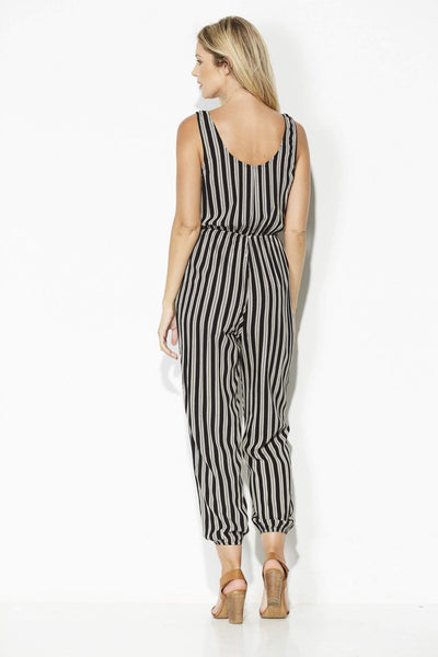 Everly - Black and White Stripe Jumpsuit - rear