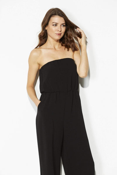 Black Strapless Culotte Jumpsuit