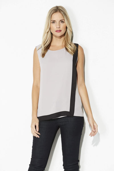 Highline - Sleeveless Gray & Black Top - front