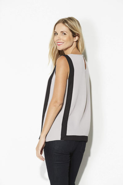 Highline - Sleeveless Gray & Black Top - side