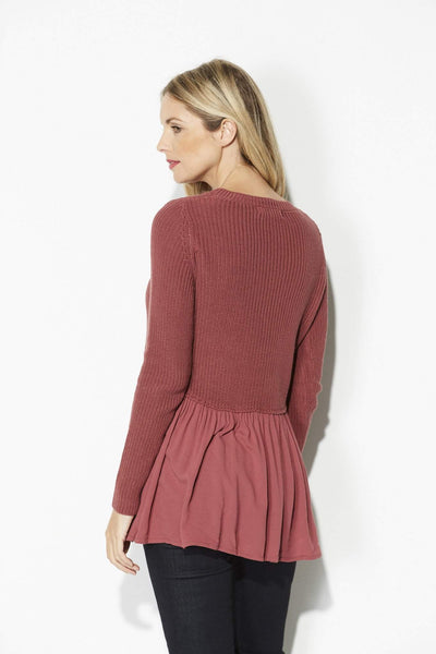 Mauve Babydoll Sweater Top