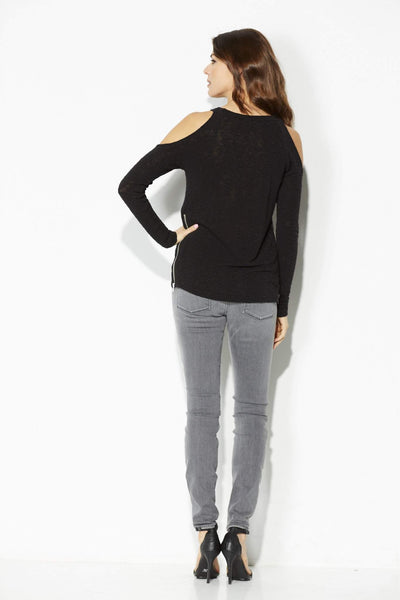 Cold Shoulder Zipper Sweater