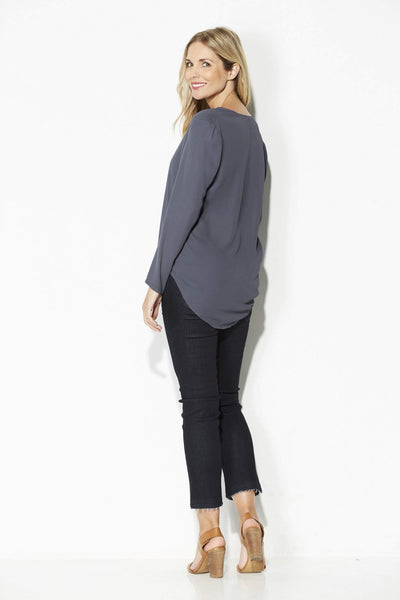 Slate V-Neck Blouse