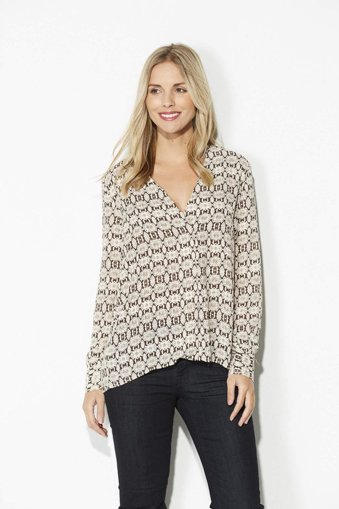 Olivaceous - Brown and Ivory Snake Skin Top