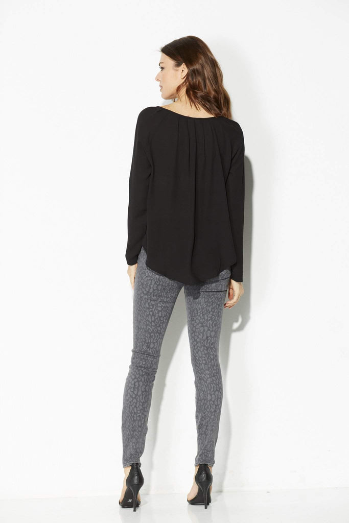 Black Split Neck Long Sleeve Top