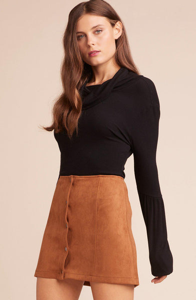 Can't Buy Me Love Front Snap Skirt- Camel