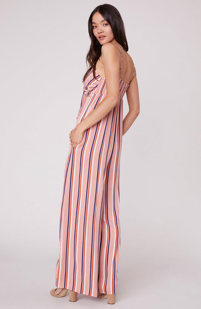 Just My Stripe Rosette Pink Jumpsuit