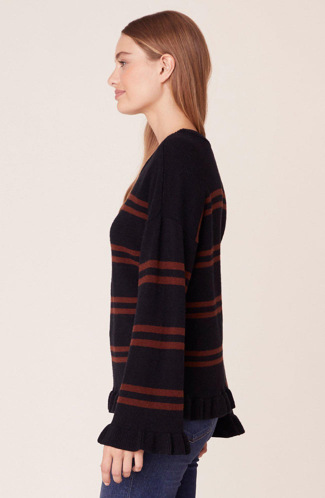 Stripe Out Ruffled Sweater