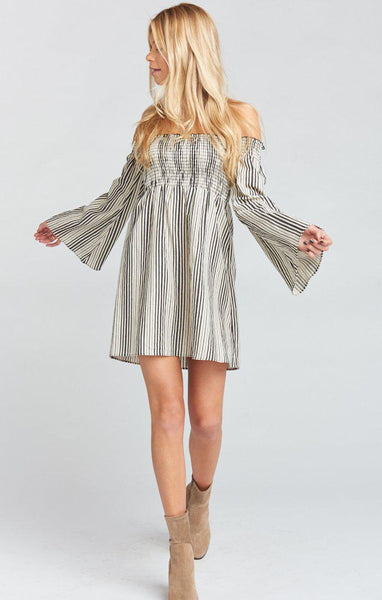 Sandra Smocked Dress - Highway Stripe Flux
