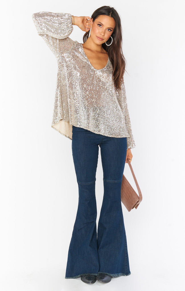 Chelsea Top - Platinum Sequins
