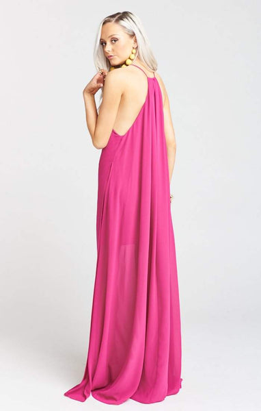 Show Me Your Mumu Bronte Maxi Dress - Fuchsia Pop Chiffon