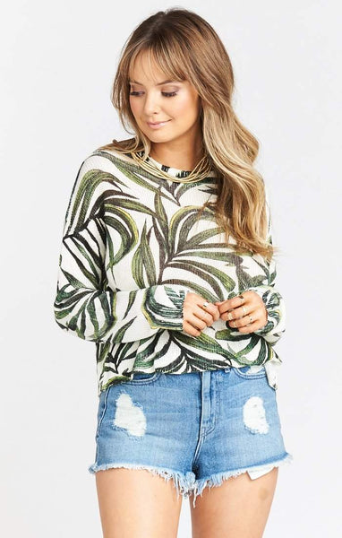 Show Me Your Mumu Cropped Varsity Sweater - Peruvian Palm Knit
