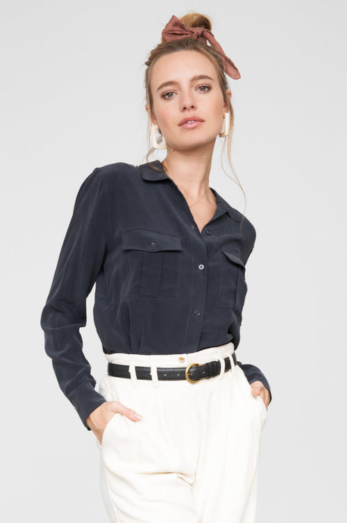 Rhett Charcoal Button Top