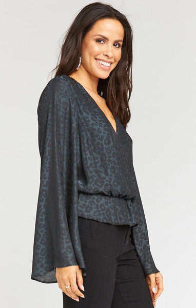 Richie Flare Top Charcoal Silky Cheetah