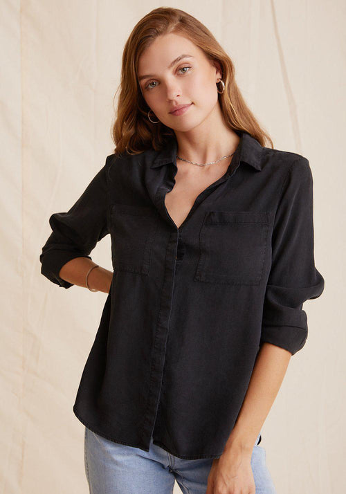 Two Pocket Classic Button Down - Vintage Black