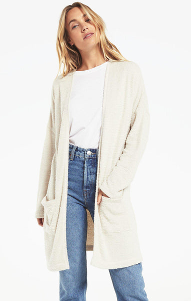 Remi Feather Knit Cardigan - Ivory