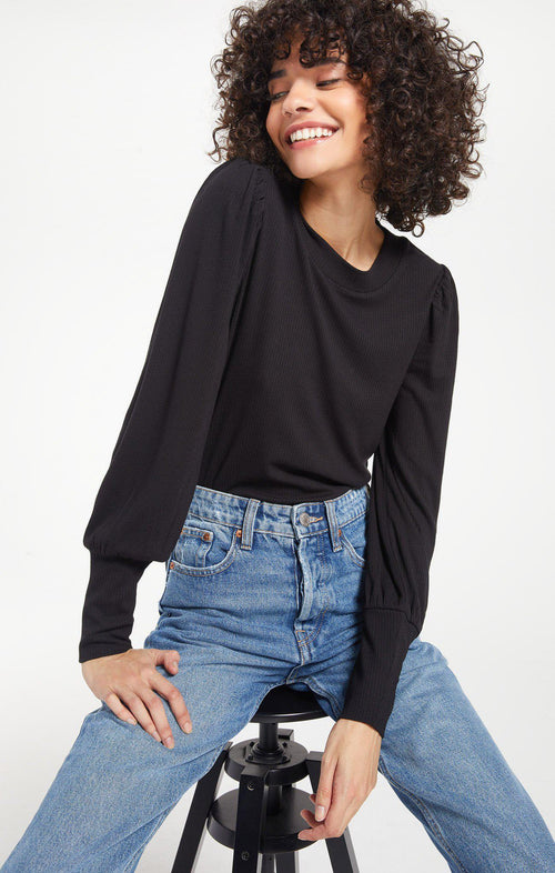 Vada Marled Top - Black