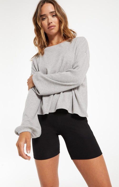 Annie Rib Top - Heather Grey