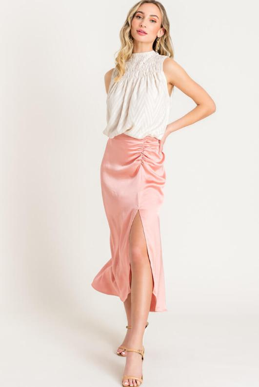 Blush Satin Skirt