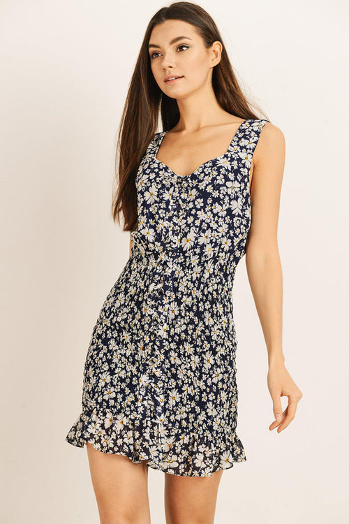 Navy and White Floral and Ruffled Dress