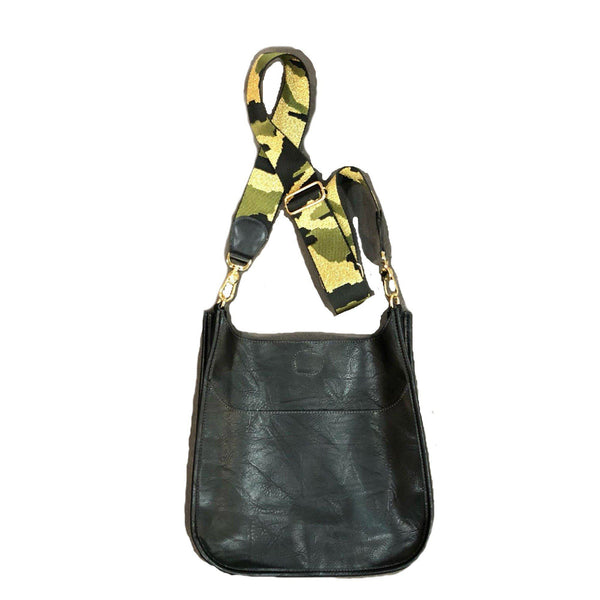 Black Vegan Messenger Bag Gold Camo