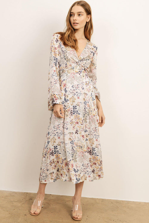 Deep V Neck Floral Dress Long Sleeve