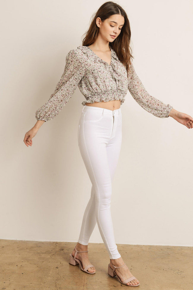 Floral Sage Multi Long Sleeve Crop Top
