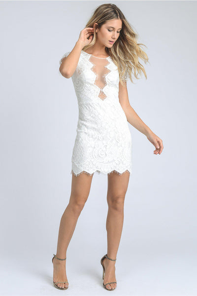 White Lace Dress with Mesh