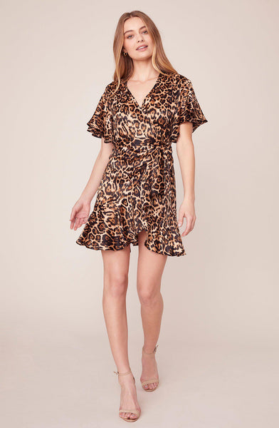 Wild Card Satin Wrap Dress